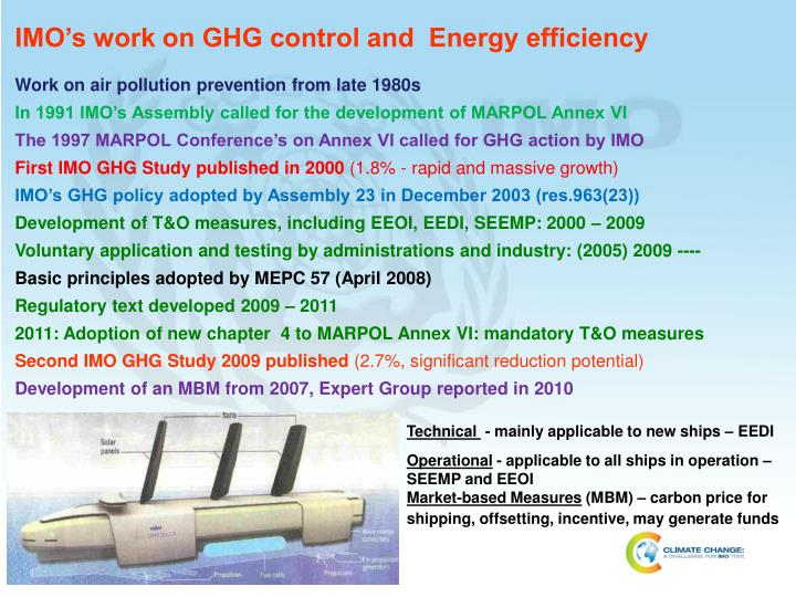 IMO's work on GHG control and  Energy efficiency