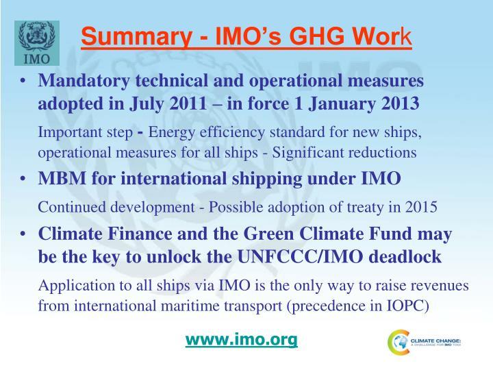 Summary - IMO's GHG Wor
