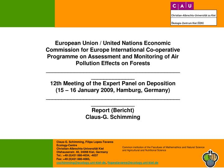 European Union / United Nations Economic Commission for Europe International Co-operative Programme ...