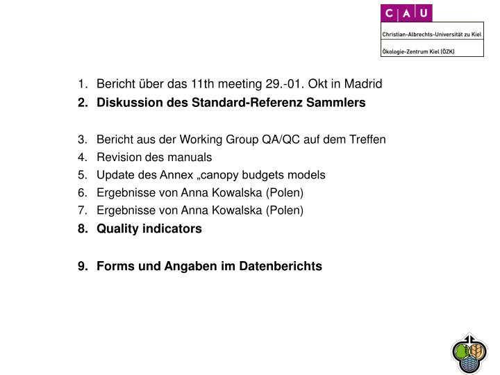 Bericht über das 11th meeting 29.-01. Okt in Madrid