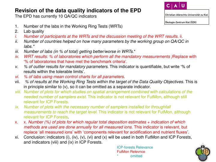 Revision of the data quality indicators of the EPD