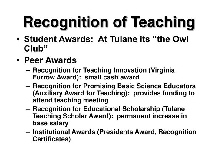 Recognition of Teaching