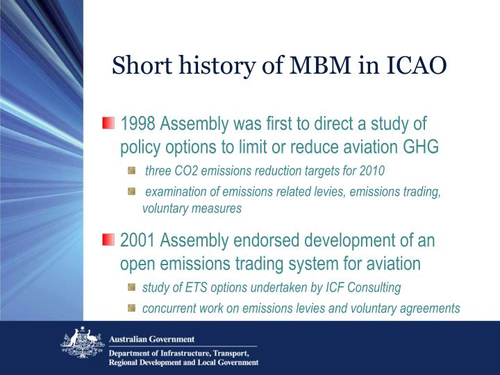 Short history of MBM in ICAO
