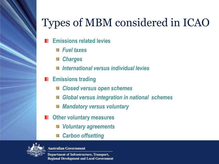 Types of MBM considered in ICAO