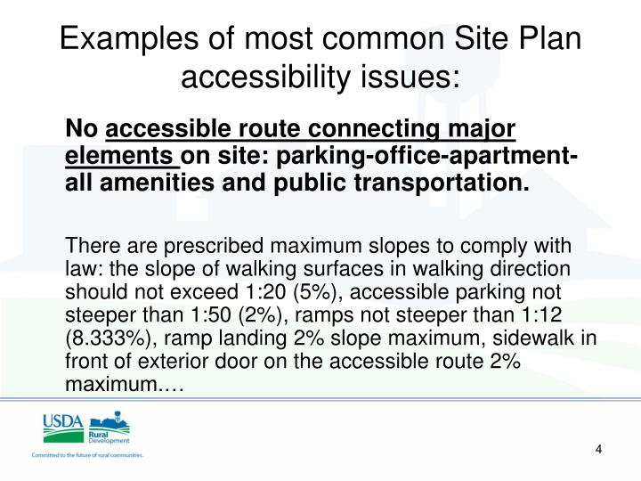 Examples of most common Site Plan accessibility issues: