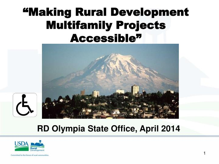 Making rural development multifamily projects accessible based on work by larry fleming