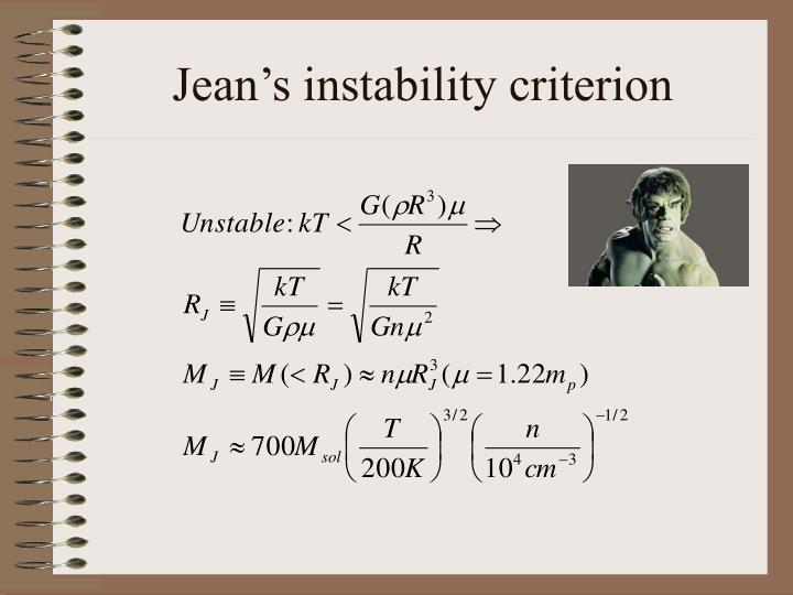 Jean's instability criterion
