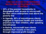 how has access to microfinance helped sme development in other countries