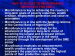 why is access to microfinance important for sme s