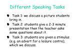 different speaking tasks
