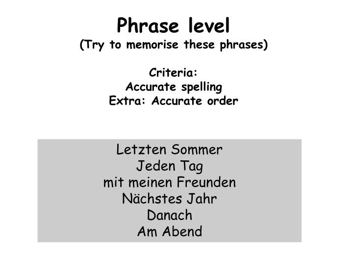 Phrase level