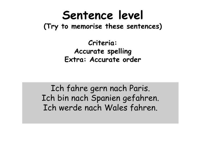 Sentence level