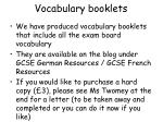 vocabulary booklets