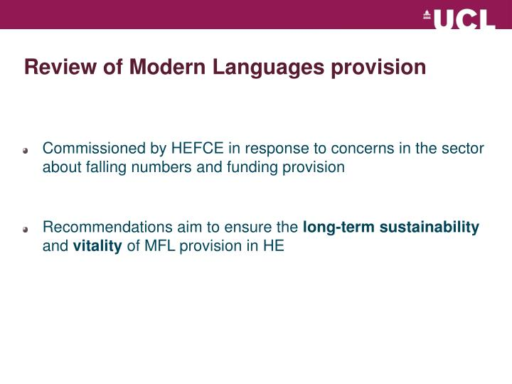 Review of modern languages provision