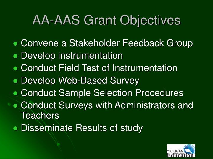AA-AAS Grant Objectives