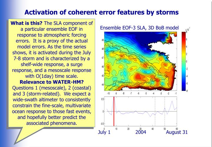 Activation of coherent error features by storms
