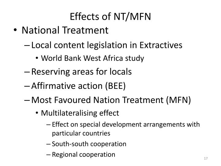 Effects of NT/MFN