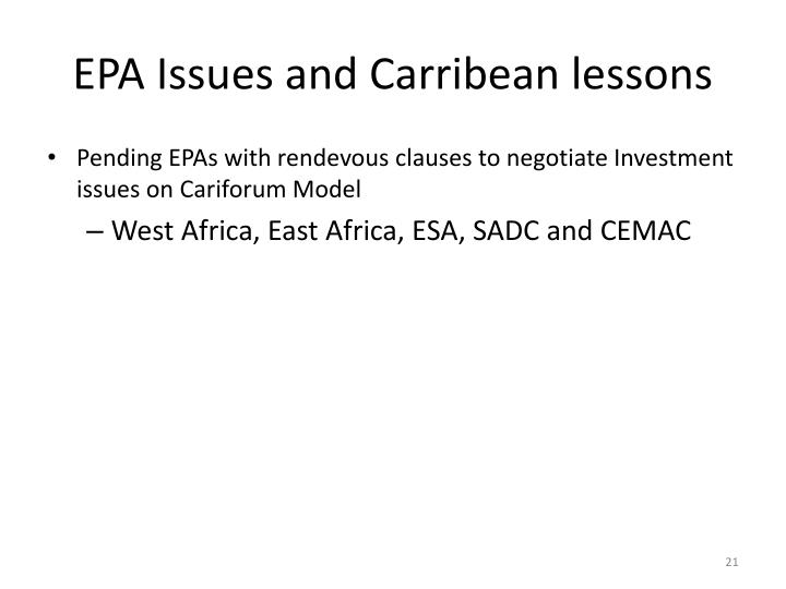 EPA Issues and Carribean lessons