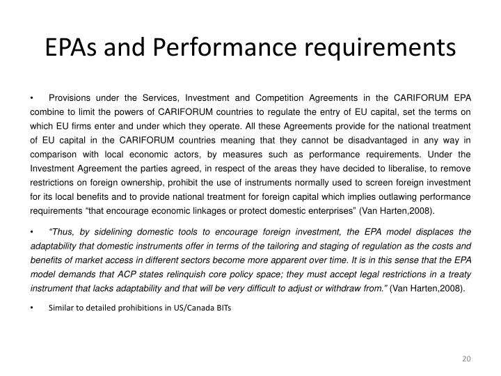 EPAs and Performance requirements