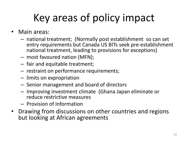 Key areas of policy impact