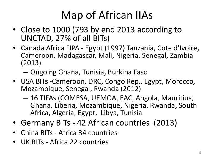 Map of African IIAs