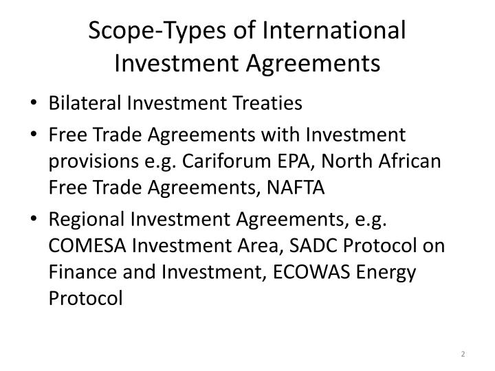 Scope-Types of International Investment Agreements