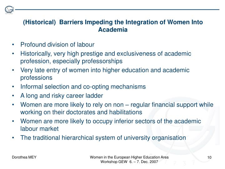 (Historical)  Barriers Impeding the Integration of Women Into Academia