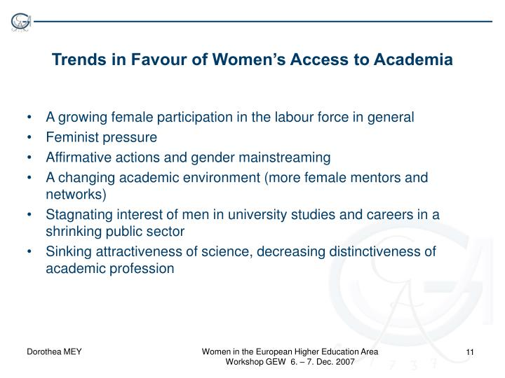 Trends in Favour of Women's Access to Academia