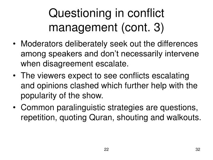Questioning in conflict management (cont. 3)