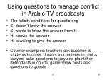 using questions to manage conflict in arabic tv broadcasts