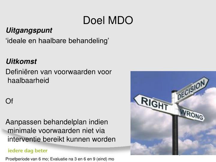 Doel MDO