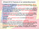 ofsted 2010 features of an outstanding lesson