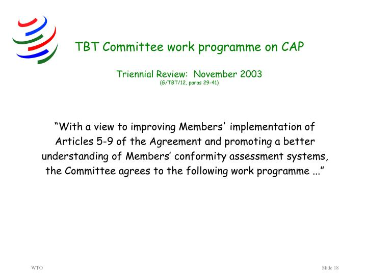 TBT Committee work programme on CAP