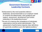 government statement on leadership contracts