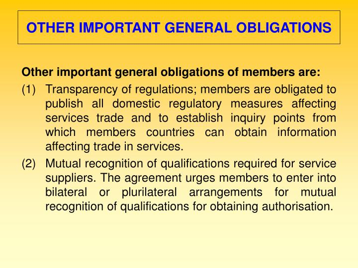 OTHER IMPORTANT GENERAL OBLIGATIONS