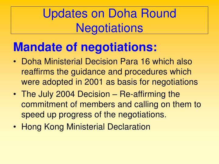 Updates on Doha Round Negotiations