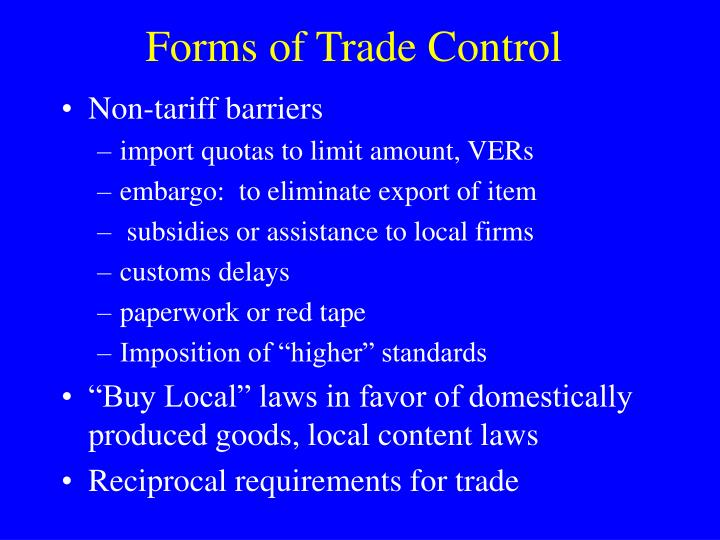 Forms of Trade Control