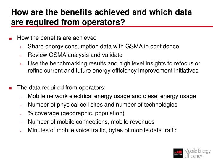 How are the benefits achieved and which data are required from operators?