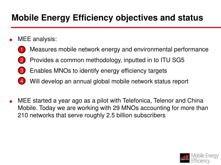 Mobile energy efficiency objectives and status