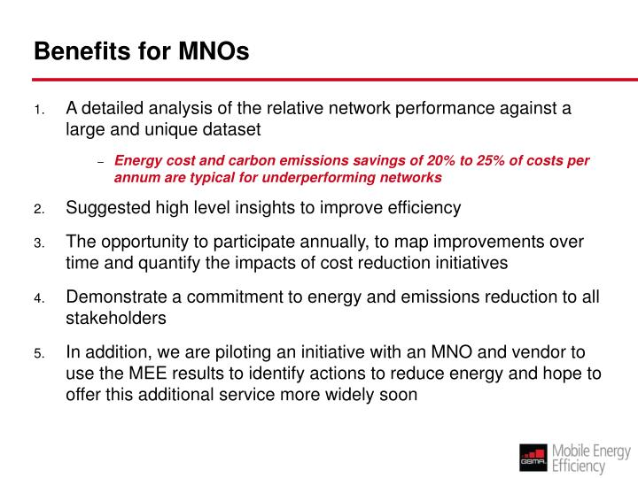 Benefits for MNOs