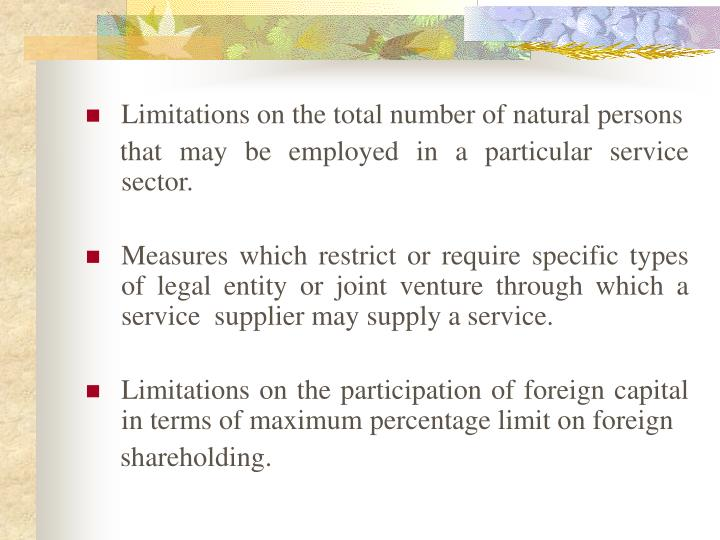 Limitations on the total number of natural persons