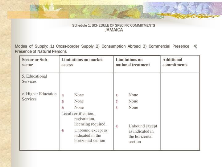 Schedule 1: SCHEDULE OF SPECIFIC COMMITMENTS