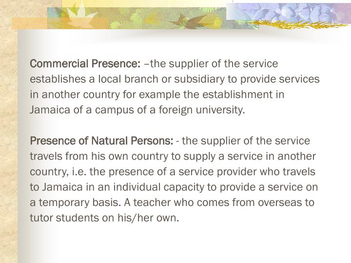 Commercial Presence: