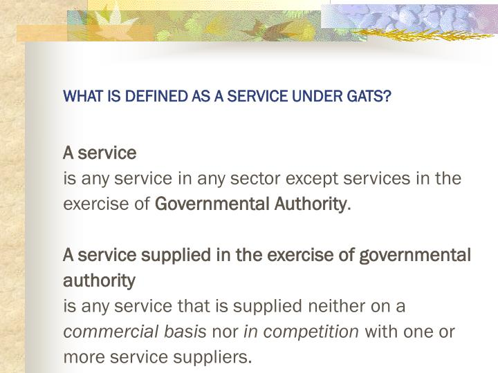 WHAT IS DEFINED AS A SERVICE UNDER GATS?