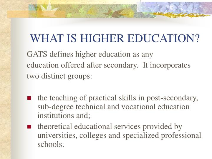 WHAT IS HIGHER EDUCATION?