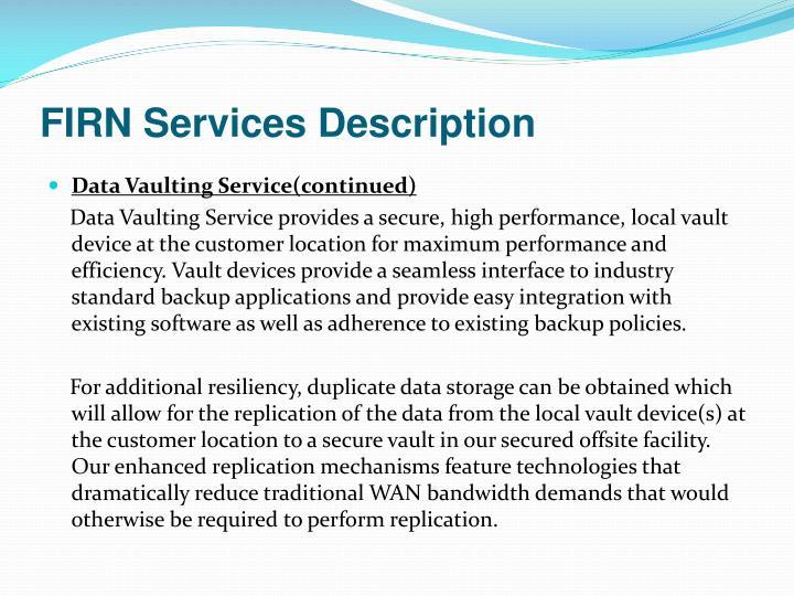 FIRN Services Description