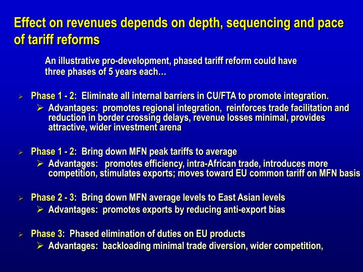 Effect on revenues depends on depth, sequencing and pace of tariff reforms