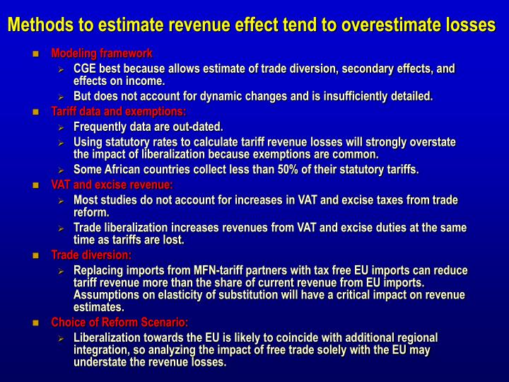 Methods to estimate revenue effect tend to overestimate losses