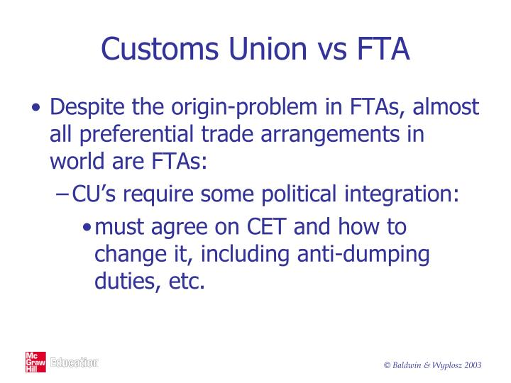 Customs Union vs FTA