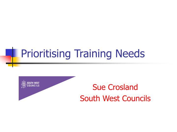 Prioritising Training Needs